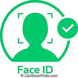 figure, id, logo, approuvé, vert