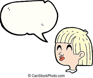 figure, livre, parole, femme, comique, bulle, dessin animé