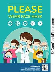 figure, s'il vous plaît, masque, usure, gabarit
