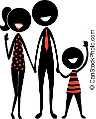 figure, silhouette, crosse, famille