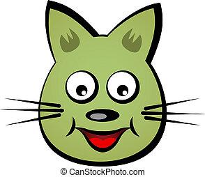 figure, sourire, vecteur, dessin animé, chat