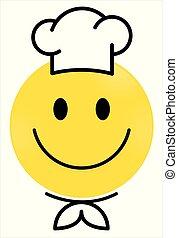 figure, vecteur, cercle, chef., jaune, heureux, yellow., face., smiley, emoji