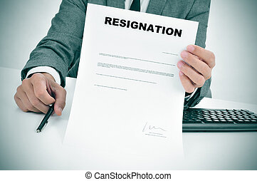 figured, projection, signé, complet, document, démission, homme