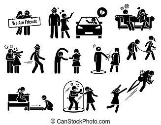 figures, ami, friendzone, concept, zone, illustrations, crosse, ou, icons.