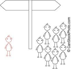figures, debout, crosse