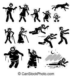 figures, infected, crosse, design., caractère, zombi, famille