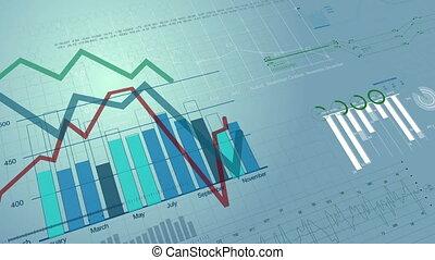 figures, marché, arrière-plan., croissant, diagrammes, diagrammes, numérique, 1080., animation, growing., hd, seamless, beau, stockage, financier, looped., 3d