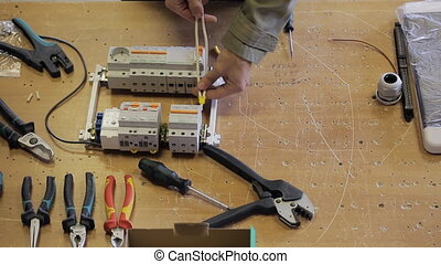 fil, électrique, fastens, tournevis, bureau, switchboard.