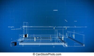 fil, 3d, bâtiment, modèles