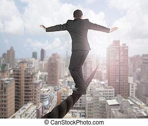 fil, nuages, ciel, équilibrage, cityscape, homme affaires