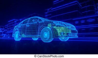 fil, voiture, intérieur, -, transmission, présentation, moteur, roues, suspension