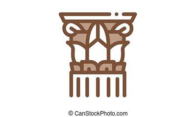 fileté, animation, colonne, grec, icône