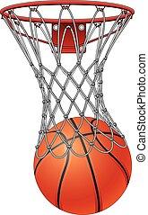 filet, basket-ball, par