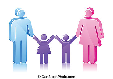 fille, crosse, famille, fils