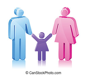 fille, crosse, famille