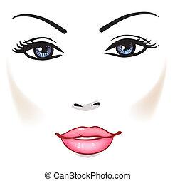 fille femme, beauté, figure, portrait, vecteur, beau