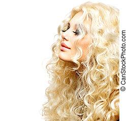 fille femme, beauté, hair., bouclé, sain, long, blond