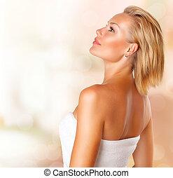 fille femme, beauté, portrait., jeune, serviette, spa, bain, beau