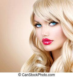 fille femme, cheveux, portrait., blonds, ondulé, long, beau, blond