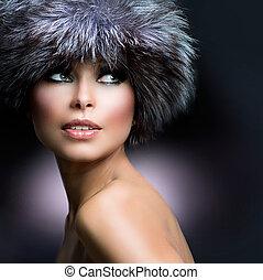 fille femme, hiver, fashion., hat., beau, fourrure