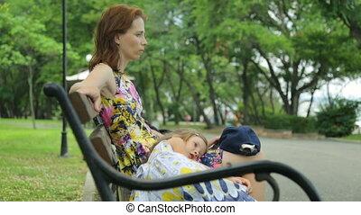 fille, femme, parc, public