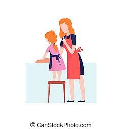 fille, mère, dépenser, plats, ensemble, laver, vecteur, illustration, maman, temps, maison, enseignement, gosse