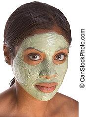 fille noire, masque, facial