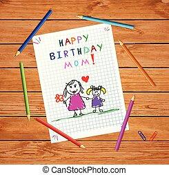 fille, père, anniversaire, mom., dessin, heureux