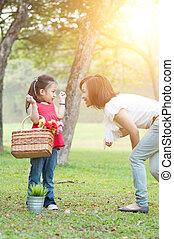 fille, park., mère, style de vie, nature