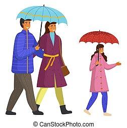 fille, temps, marche, blanc, mouvement, parents, ensemble, dépenser, pluvieux, bas, isolé, rue
