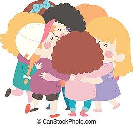 filles, étreinte, groupe, illustration, gosses