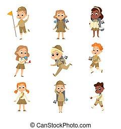 filles, activités, concept, uniforme école, étudiants, dessin animé, scoutisme, style, illustration, élémentaire, ensemble, vecteur, scouts, mignon, vacances été, garçons