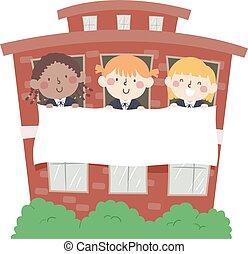 filles, bâtiment, bannière, gosses, école, illustration