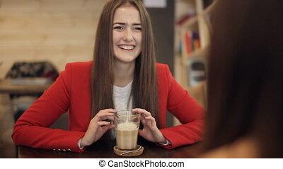 filles, café, parler., deux, rire