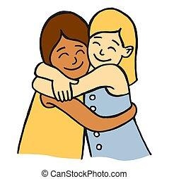 filles, deux, étreindre, jeune, sourire, amis