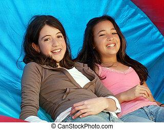 filles, deux, heureux
