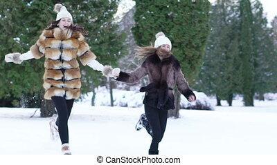 filles, deux, neige, courant, park., par, joli, lentement