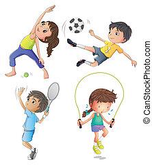 filles, jeune, deux garçons, jouer, exercisme