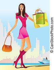 filles, mode, achats