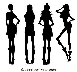 filles, moderne, silhouette
