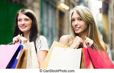 filles, sacs, achats