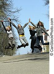 filles, sauter, groupe