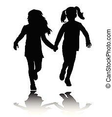 filles, silhouettes, deux, courant, tenant mains, preschooler