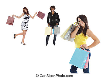 filles, trois, achats