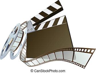 film, clapperboard, pellicule, re