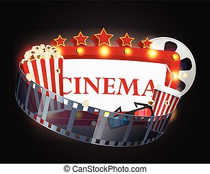 film, fond, cinéma