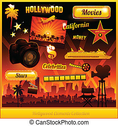 film, hollywood, éléments, cinéma