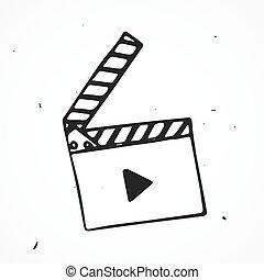 film, main, rabat, dessiné