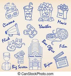film, remettre ensemble, dessiné, icônes