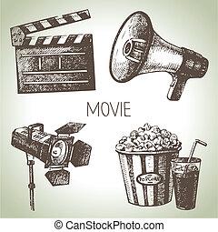 film, set., main, vendange, illustrations, dessiné, pellicule